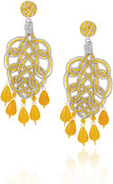 Anna e Alex Yellow & Silver Pavone Chandelier Earrings