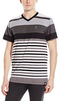 Southpole Men's Stripe V-Neck T-Shirt with Pin and Medium Thick Stripes