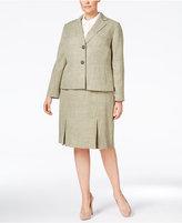 Le Suit Plus Size Textured Two-Button Skirt Suit