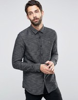 Farah Shirt With Textured Weave In Slim Fit Black