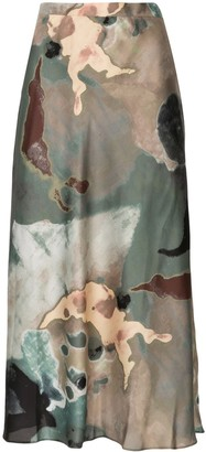 Beaufille abstract print A-line skirt