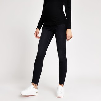 River Island Womens Black Amelie overbump maternity jeans