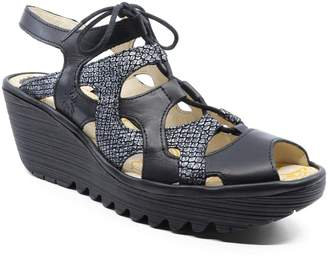 Fly London Women's Sandals 022 - Black Metallic-Accent Wedge Yexa Leather Slingback - Women