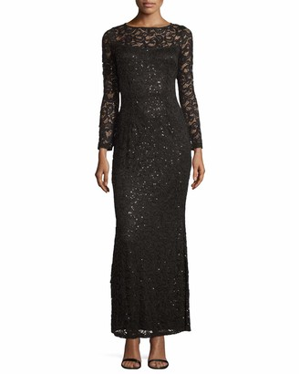 Marina Women's All Over Sequin Lace Dress with Long Sleeve and Boat Neck