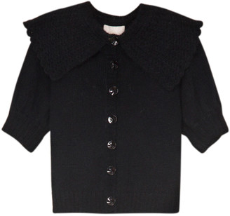 By Ti Mo Short Sleeve Mohair-Wool Knit Cardigan