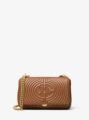 Michael Kors Monogramme Quilted Leather Shoulder Bag - Luggage Brown