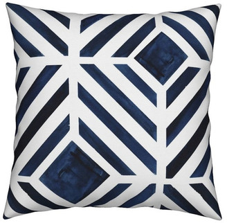 Roostery Watercolor Stripe Geo Midnight Blue Throw Pillow Velvet