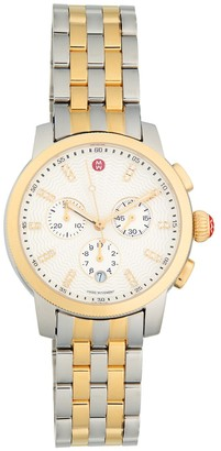 Michele Uptown Two-Tone Stainless Steel Diamond Chronograph Watch