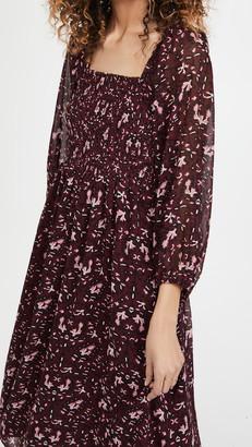 Madewell Long Sleeve Square Neck Midi Dress