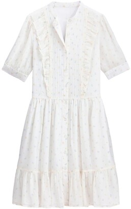 La Redoute Collections Button-Through Mini Dress in Floral Print with Ruffles and Short Sleeves