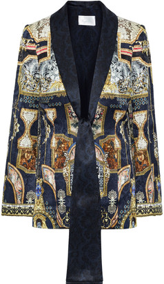 Camilla Tie-front Silk Satin-trimmed Printed Jacquard Blazer