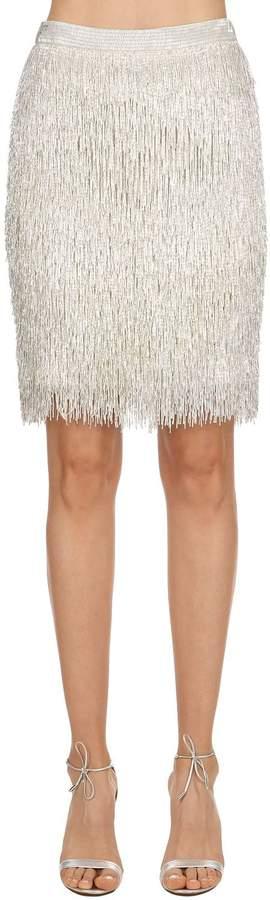 Moschino Beaded Fringe Silk Pencil Skirt
