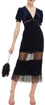 Topshop Women's Velvet & Lace Puff Sleeve Midi Dress