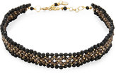 Nakamol 4-Row Crystal Beaded Choker Necklace, Black