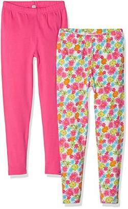 Playshoes Girl's Leggings Blumen Allover Und Pink Im 2er Pack,(Pack of 2)