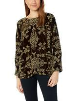 Pete & Greta By Johnny Was by Johnny Was Women's Long Sleeve Velvet Tonal Embroidered Blouse