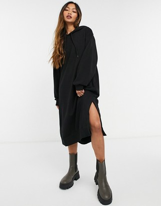 Weekday Macie midi hoodie dress in black