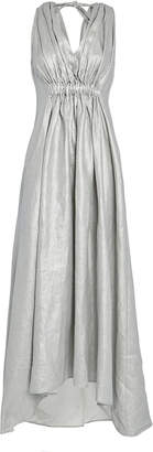 story. White Operato Metallic Linen Dress