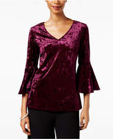 MSK Velvet V-Neck Bell-Sleeve Top