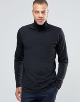 !solid Jersey Roll Neck