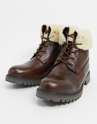 Aldo chagan leather lace up boots with faux-shearling lining in tan