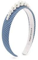 Benoit Missolin Stella Faux Pearl-embellished Gingham Headband - Womens - Blue Print