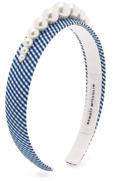 Benoit Missolin Stella Faux Pearl-embellished Gingham Headband - Blue Print