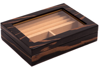 Bey-Berk Ebony Lacquered Burl Wood Valet Box With Glass Top