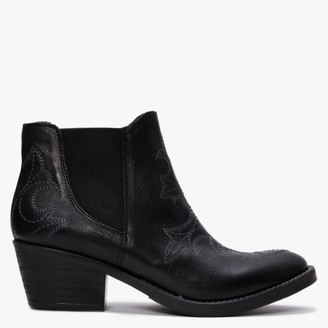 Kanna Philby Black Leather Western Ankle Boots