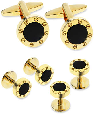 Sutton by Rhona Sutton Men Gold-Tone 3-Pc. Set Stone Cufflinks & Tuxedo Buttons