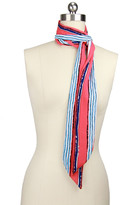 Saachi Coral Striped Skinny Scarf