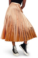 Topshop Pleated Metallic Faux Leather Midi Skirt