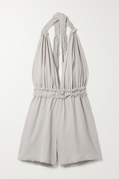Thumbnail for your product : CARAVANA + Net Sustain Ahuat Cotton-gauze Halterneck Playsuit - Light gray