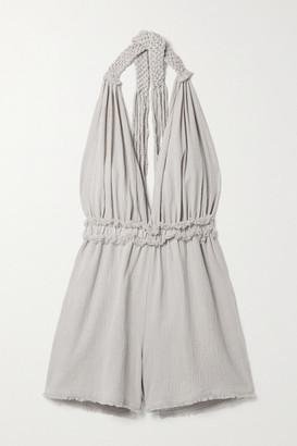 CARAVANA + Net Sustain Ahuat Cotton-gauze Halterneck Playsuit - Light gray