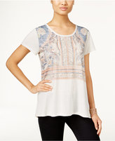 Style&Co. Style & Co. Petite Boho-Print T-Shirt, Only at Macy's