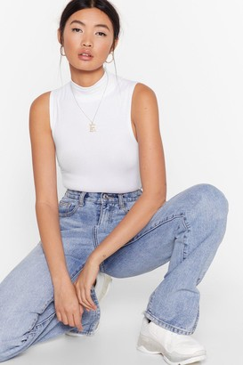 Nasty Gal Womens Get the Ball Rolling Fitted Turtleneck Top - White