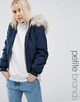 Miss Selfridge Petite Faux Fur Hooded Bomber