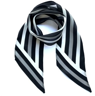 Ingmarson Henley Silk Stripe Neck Scarf Black