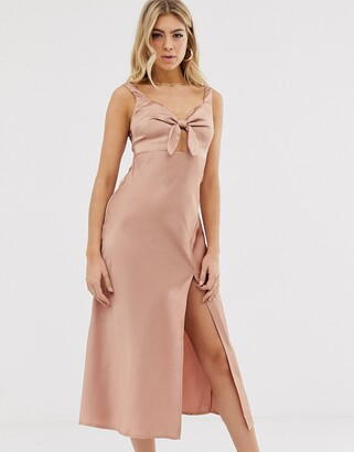 Parallel Lines bow front satin slip dress with thigh split in pink