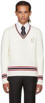 Brioni Off-White Logo V-Neck Sweater