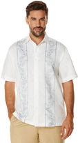 Cubavera Short Sleeve Embroidered and Reverse Print Panel Shirt