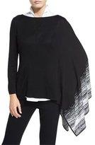Misook Balancing Act Knit Poncho, Black/New Ivory