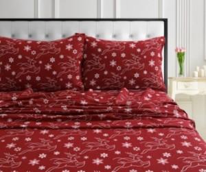Tribeca Living Holiday Print Flannel Extra Deep Pocket Twin Xl Sheet Set Bedding