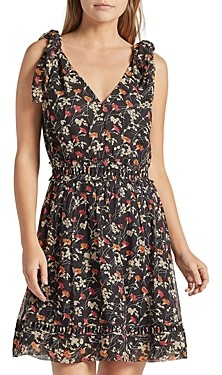 Joie Huntlie Floral Print A Line Silk Dress