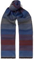 Missoni Zigzag-patterned Wool-jacquard Scarf - Blue
