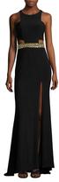 Mac Duggal Embellished Waist Floor Length Gown