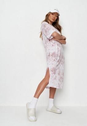 Missguided Pink Tie Dye Midi T Shirt Dress