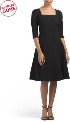 Square Neck Three-quarter Sleeve Stretch Crepe Dress