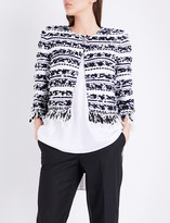 St. John Adel frayed knitted jacket
