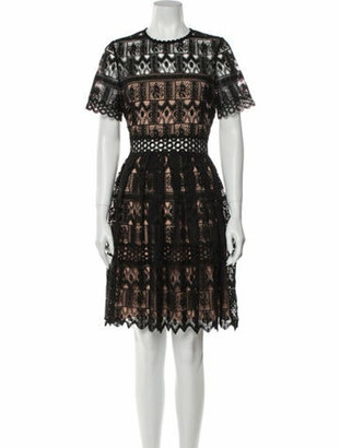 Alexis Lace Pattern Knee-Length Dress Black